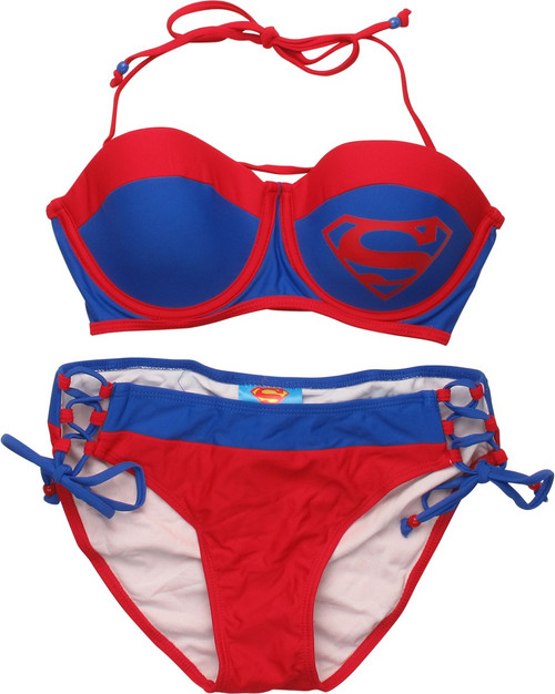 Superman Bandeau Lace Up Bikini Swimsuit