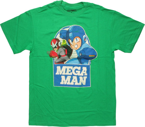 Mega Man and Proto Man Over Name T-Shirt