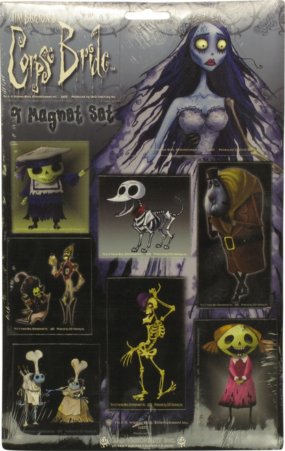 Corpse Bride with Skeleton Dog Magnet Set
