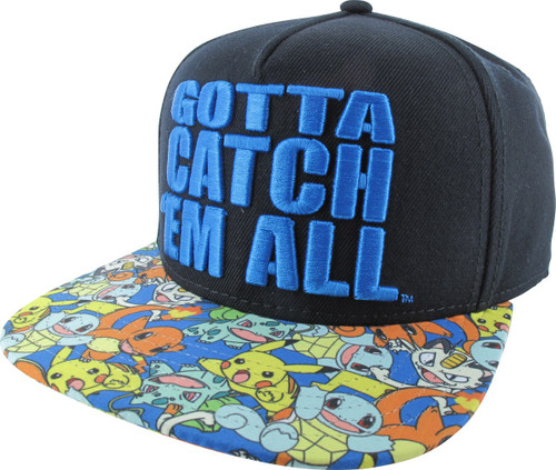 Pokemon Catch Em All Embroidered Snapback Hat