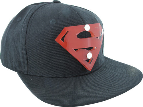 Superman Acrylic 3D Red Logo Snapback Hat