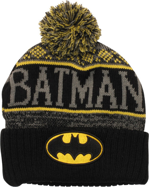 Batman Gray Name Wrap Logo Cuff Pom Beanie