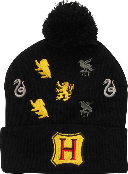 Harry Potter Hogwarts Symbols Cuff Pom Beanie