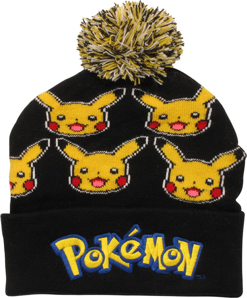 Pokemon Pikachu Faces All Over Cuff Pom Beanie