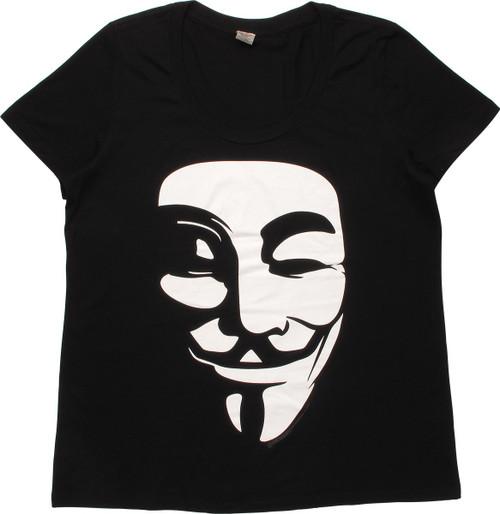V for Vendetta White Mask Ladies T-Shirt
