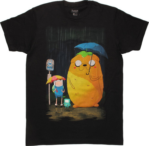 Adventure Time Group Bus Stop Raining T-Shirt