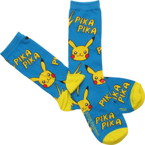 Pokemon Pikachu Pika All Over Print Crew Socks