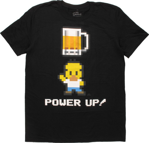 Simpsons 8-Bit Homer Simpson Beer Power Up T-Shirt