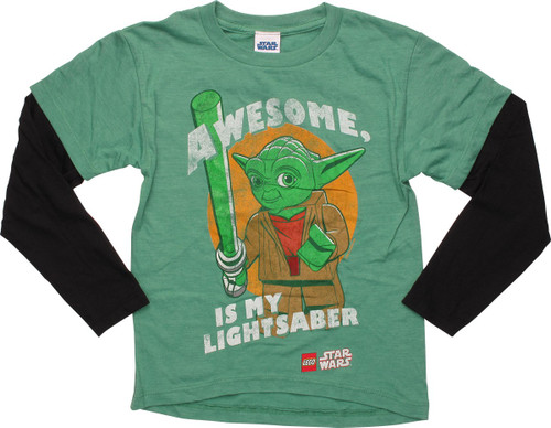 Star Wars Lego Yoda Awesome LS Juvenile T-Shirt