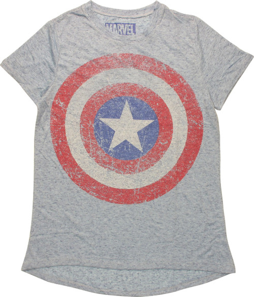 Captain America Distressed Shield Juniors T-Shirt