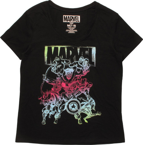 Avengers Gradient Group Womens Boyfriend T-Shirt