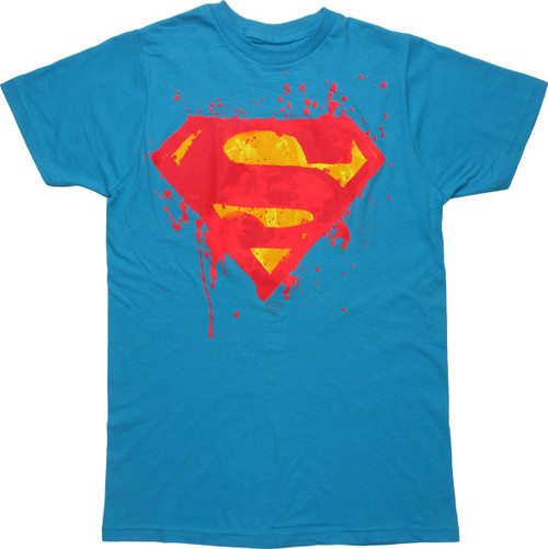 Superman Neon Splatter Logo T-Shirt