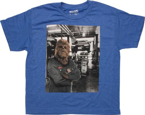 Star Wars Chewbacca Mechanic Garage Youth T-Shirt