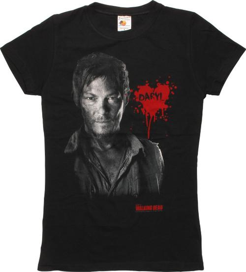 Walking Dead Daryl Bust Name Heart Juniors T-Shirt