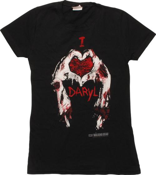 Walking Dead I Love Daryl Hands Juniors T-Shirt