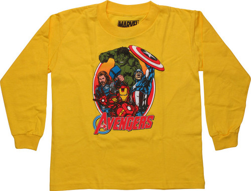 Avengers Team Oval Frame Orange LS Juvenile Shirt
