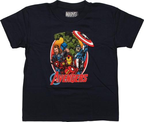 Avengers Group Oval Frame Navy Juvenile T-Shirt