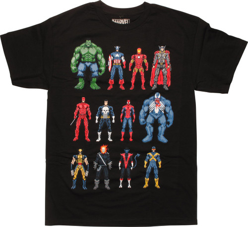 Marvel 12 8 Bit Characters In Row Black T-Shirt