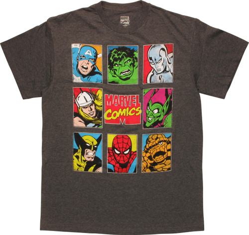 Marvel Comics Vintage Characters Squares T-Shirt