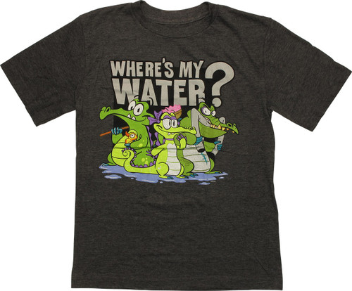 Where's My Water Bath Time Charcoal Youth T-Shirt