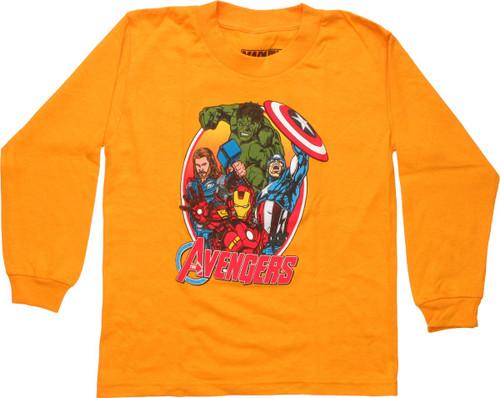 Avengers Group Oval Frame Orange LS Juvenile Shirt