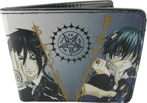 Black Butler Ciel and Sebastian with Seals Bifold Wallet Anime Manga NEW