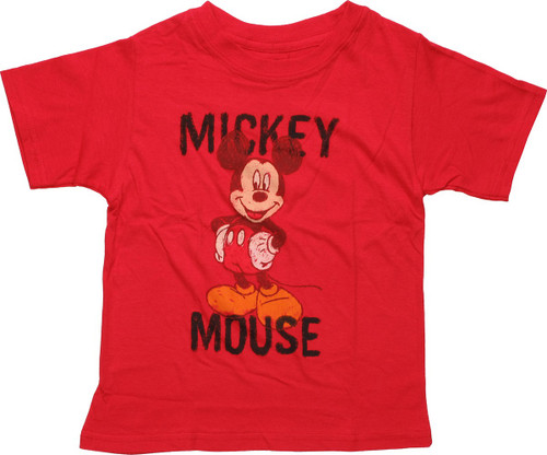 Mickey Mouse Crayon Drawing Red Juvenile T-Shirt