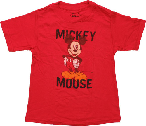 Mickey Mouse Crayon Drawing Red Toddler T-Shirt