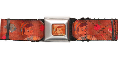 Pinocchio Wood Grain Poses Seatbelt Belt