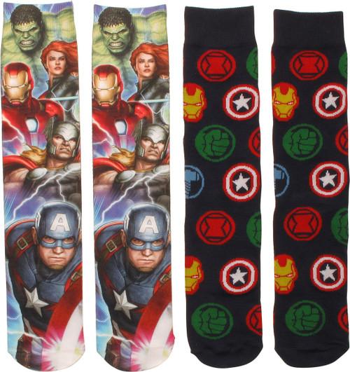 Avengers Dye and Knit 2 Pack Crew Socks Set