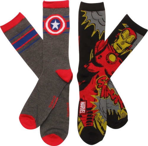 Marvel Iron Man and Capt America 2 Pk Socks Set