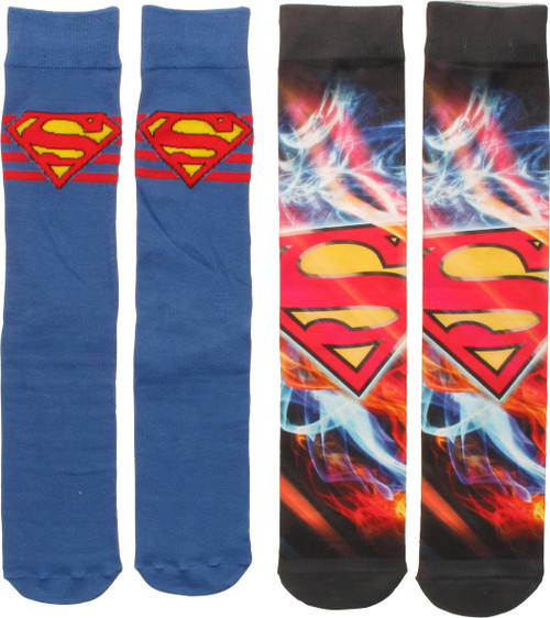 Superman Dye and Knit Logo 2 Pack Crew Socks Set