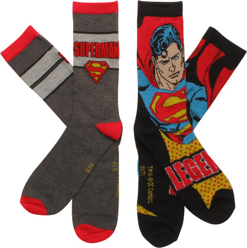 Superman Legend 2 Pack Crew Socks Set
