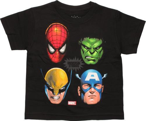Marvel Universal Studios Hero Faces Juvenile Shirt