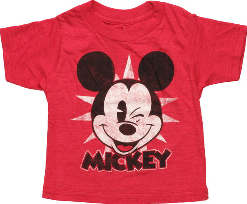 Mickey Mouse Face Winking Distress Infant T-Shirt