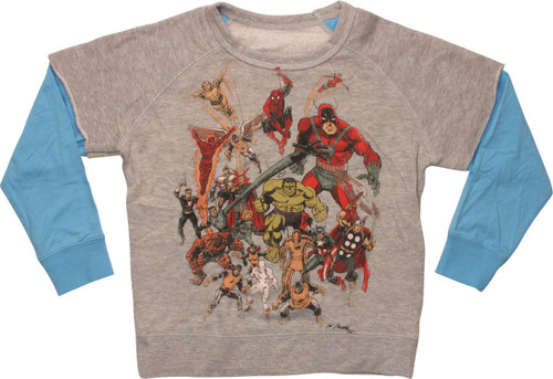 Marvel Big Group Fight Ready Juvenile Sweatshirt