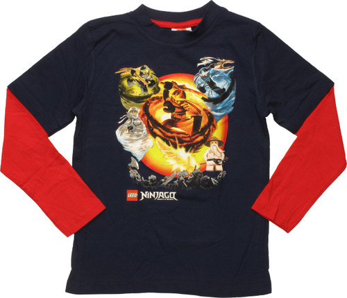 Lego Ninjago Elemental Attacks LS Juvenile T-Shirt