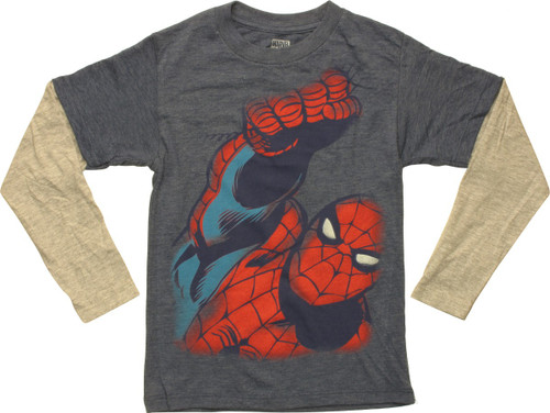 Spiderman Punch Long Sleeve Juvenile T-Shirt