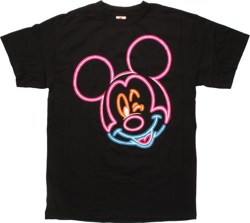 Mickey Mouse Winking Neon Outline T-Shirt