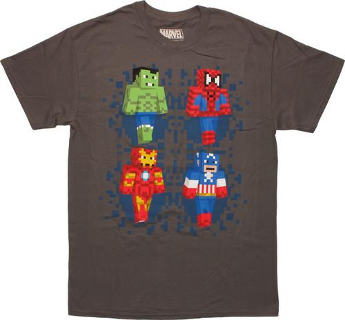 Avengers Minecraft Superheroes Gray T-Shirt