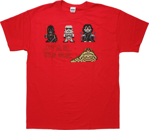 Star Wars 6-Bit Pixel Villains Red T-Shirt