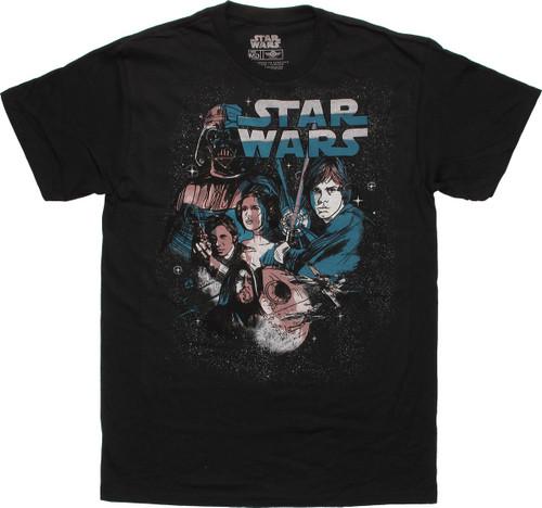 Star Wars Trilogy New Hope Sketch Poster T-Shirt