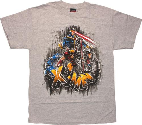 X Men Group Splatter Frame T-Shirt
