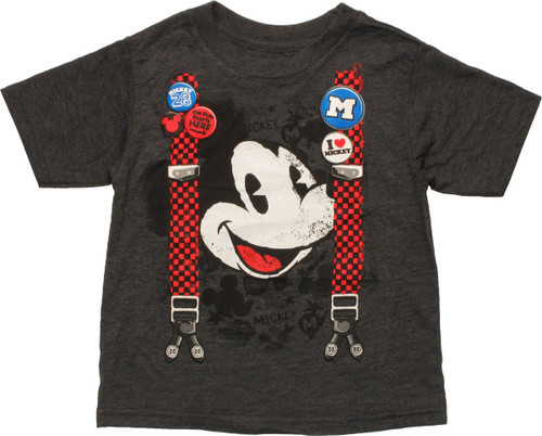 Mickey Mouse Face Suspenders Toddler T-Shirt
