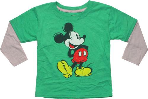 Mickey Mouse Crayon Drawing LS Toddler T-Shirt