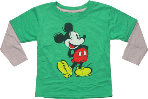 Mickey Mouse Crayon Drawing LS Toddler T-Shirt