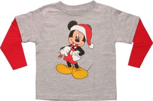 Mickey Mouse Santa Long Sleeve Toddler T-Shirt