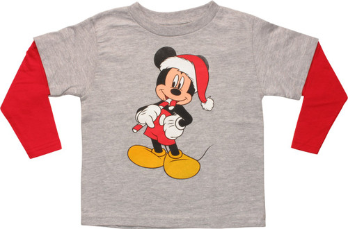 Mickey Mouse Santa Long Sleeve Toddler T-Shirt