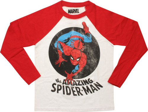 Amazing Spiderman Crawl Raglan LS Juvenile T-Shirt