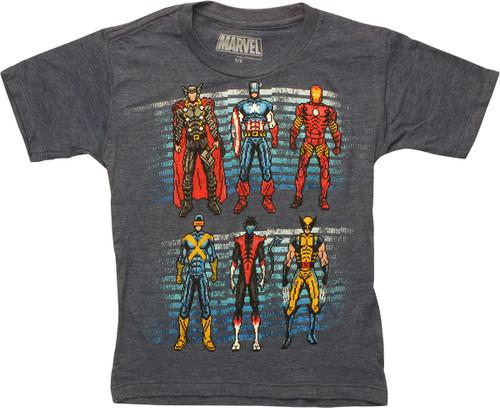 Marvel 6 Heroes 16 Bit Juvenile T-Shirt